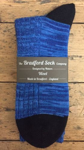 Men's Wool Socks - Blue Marl - Machine Washable.